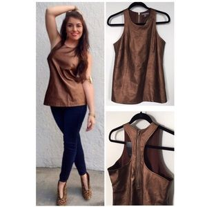 Tinley Road Bronze Copper Faux Leather Halter Top